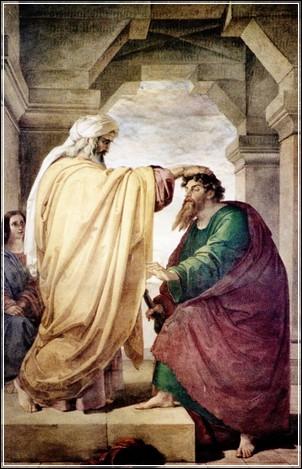 Ananias curando a cegueira de Saulo de Tarso