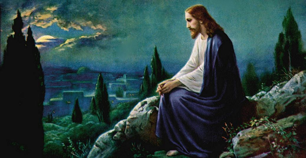 Jesus meditando no jardim